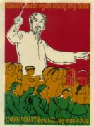 Vintage Vietnam Propaganda Poster, Ho Chi Minh leading workers